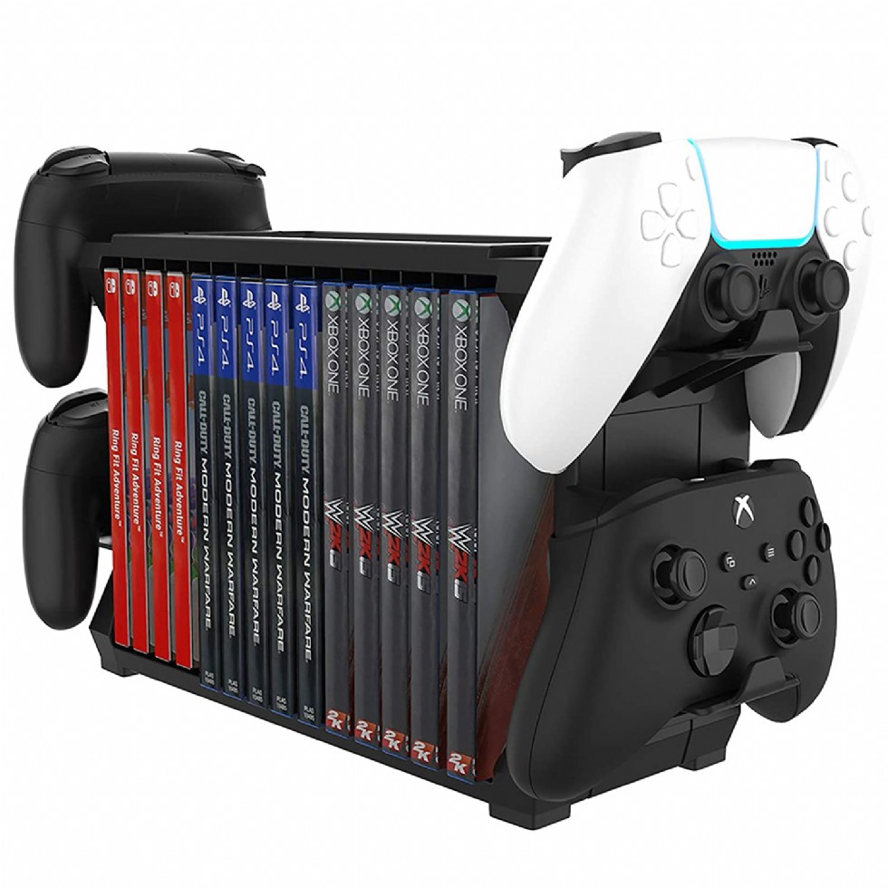Congdaren Ps5 Game Storage With Controller Holder, Multifunctional