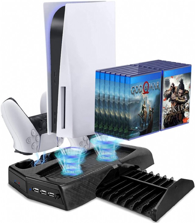 Dlseego Charging Stand For Ps5 With Cooling Fan, Multi-function Charge