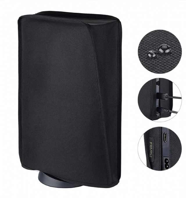 Playvital Black Nylon Ps5 Dust Cover, Soft Neat Lining Dust Guard
