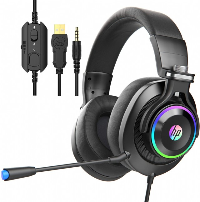 Hp Black Wired Gaming Headphones